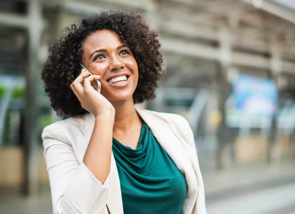 woman using voip